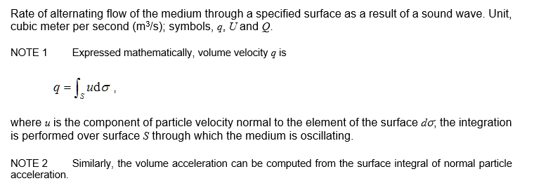 Volume Velocity Welcome To Asa Standards