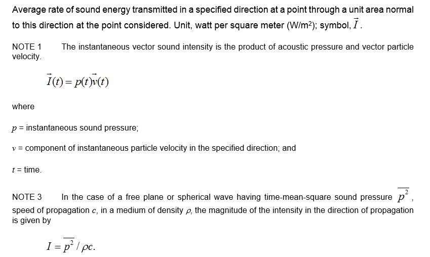 2.70 sound intensity sound-energy flux density sound-power density