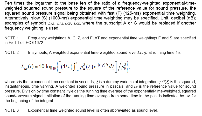 3.12 exponential-time-weighted sound level